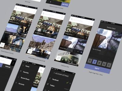 PostPics WIP ui mobile responsive app photography ux flow wireframe flat icons prototype user journey