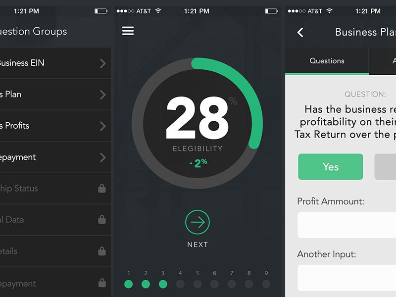 SBA Loan Assistant mobile app fintech financial ui flat iphone banking list gauge typography angularjs