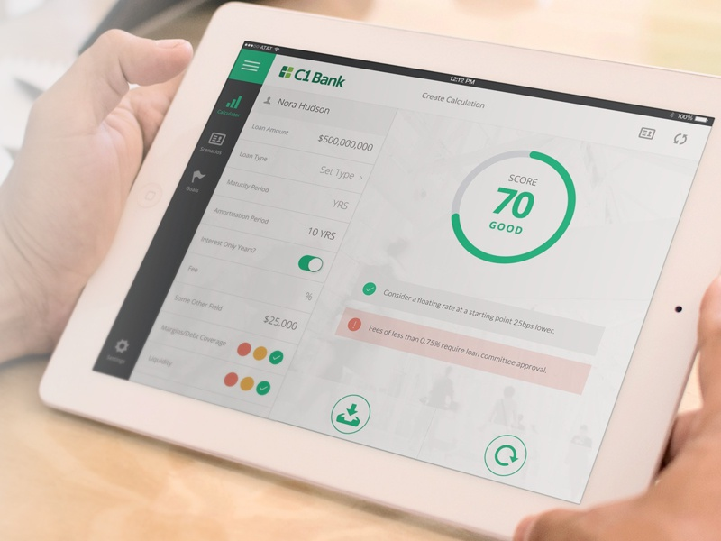 SmartLoanExpress iPad App ui mobile app clean ipad flat minimal banking financial simple fintech calculator