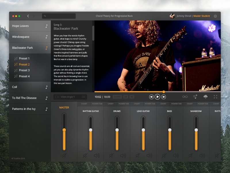 In The Jam OSX App audio tabs rawk player video application guitar mixer ui osx native