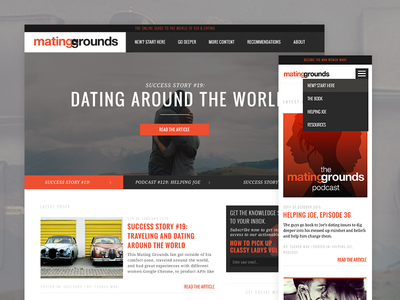 TheMatingGrounds.com website responsive flat wordpress mobile web blog