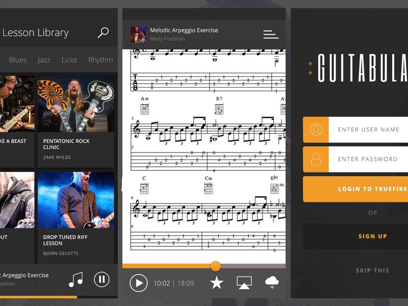Guitabulary iPhone player dark music mobile tab guitar ios iphone app flat ui