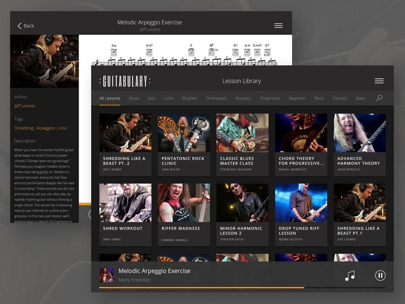 Guitabulary iPad ui flat app tablet ipad ios guitar tab mobile music dark player