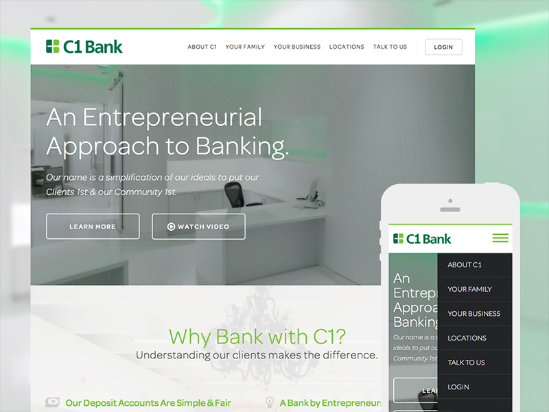 C1 Bank Website web flat white ui responsive fintech banking website