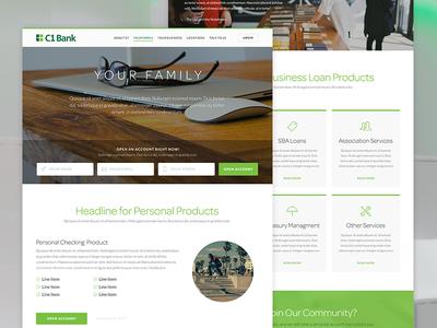 C1 Bank Website - Internals web flat white ui responsive fintech banking website