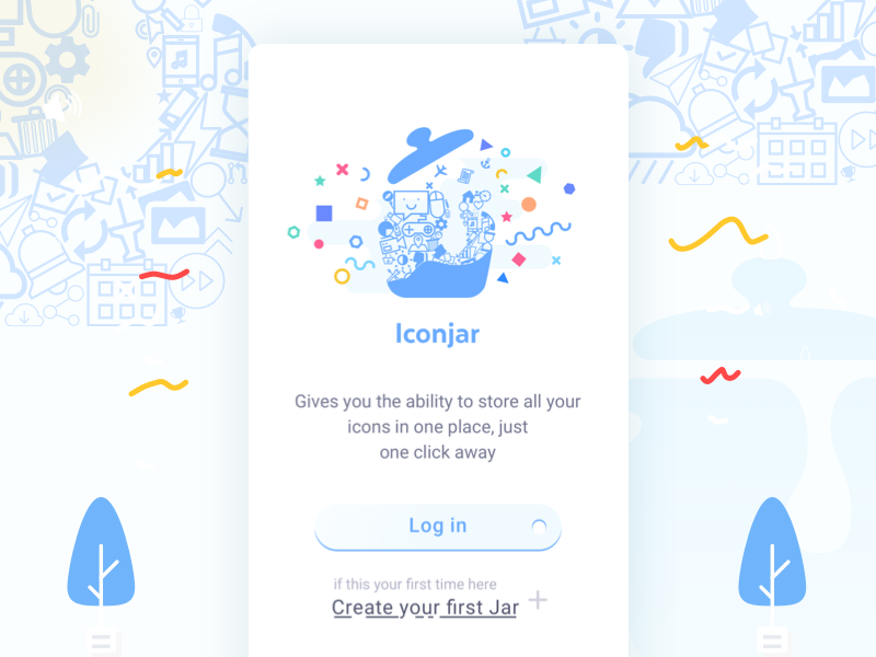 Iconjar App - Landing Screen signup login graphic logo vector not official landing page app iconjar idea