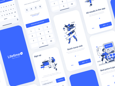 Lifetime+ Digital Lab (Sign up and Onboarding) android ios medical health steps inspiration first screen lab blue registration sign up sign in onboarding illustration flat app figma interface ux ui