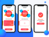 Cashback screen + Success screen