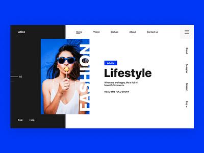 Fashion Header concept web typography womans lifestyle woman landing branding fashion blue illustrator dribbble flat figma design app sketch photoshop interface ux ui