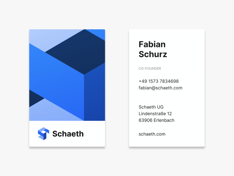Schaeth Business Cards logodesign brand typography branding pattern icon business corporate blue logo business cards