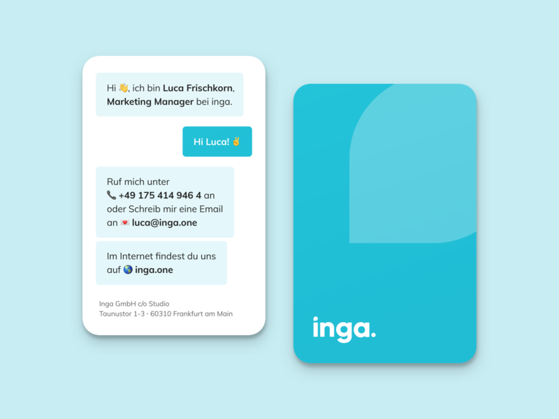 inga Business Cards business cards bubbles icon emoji brand chat app chatbot blue branding logo business card bubble chat