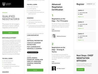 Mobile Screens for Schranner ui brand modern elegant event education webdesign web blackandwhite light white green negotiation learning