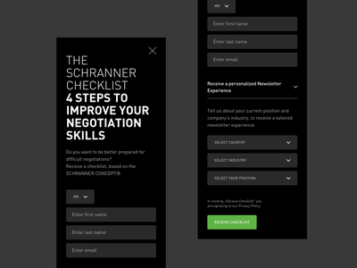Newsletter Popup for Corporate Website field input select form sign up form mobile dark app black  white blackandwhite dark dark mode popup sign up newsletter green black dark theme