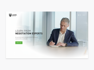 Landing Page for Negotiation Online Course landing page header brand ui app learning clean simple bright lights business corporate negotiation light website education course e-learning