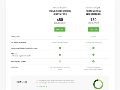 Pricing Table for Online Course landing page web education website payment e-commerce pricing table clean simple white green e-learning learning app learning online course education
