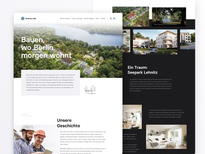 Homepage for Real Estate Website gallery nature website real estate branding housing living flat corporate web black white images clean simple real estate