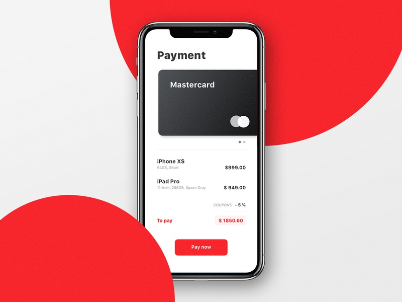 Daily UI Challenge #002 - Credit Card Checkout ux typography iphone x app red ui dailyui 002 dailyui challenge dailyui payment credit card checkout