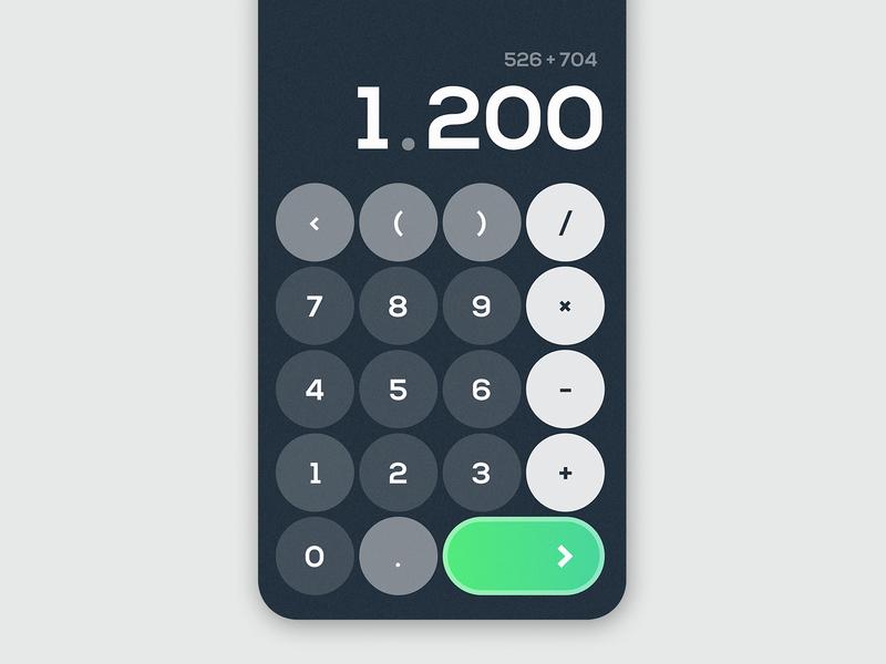 Daily UI Challenge #004 - Calculator dailyui 004 calculator round darkblue blue green ux ui typography iphone x dailyui challenge dailyui app