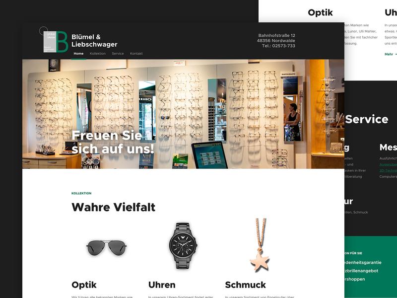 Blümel & Liebschwager Landing Page accent green app simple optican dark green typography landing page ui  ux design ui