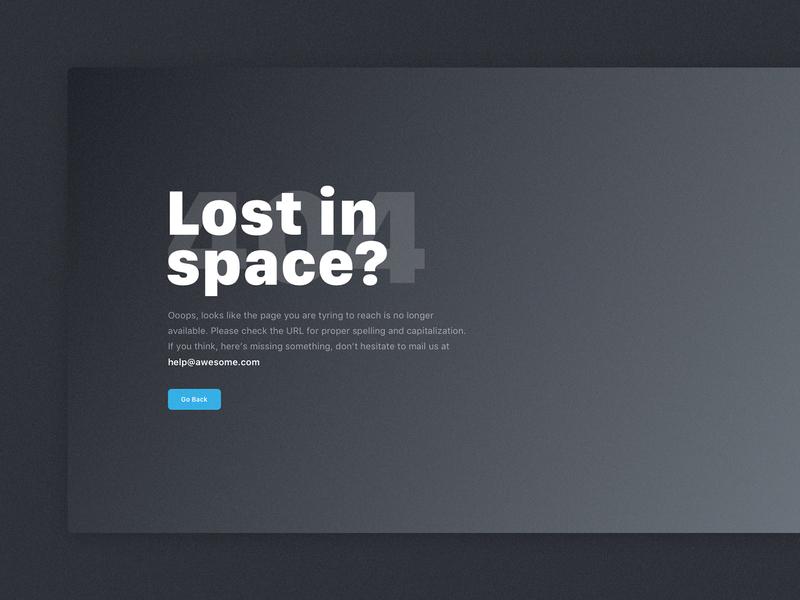 Daily UI Challenge #008 - 404 Page ux 404 page 404 error ui dark blue lost space dark website banner website 404 app dailyui challenge dailyui