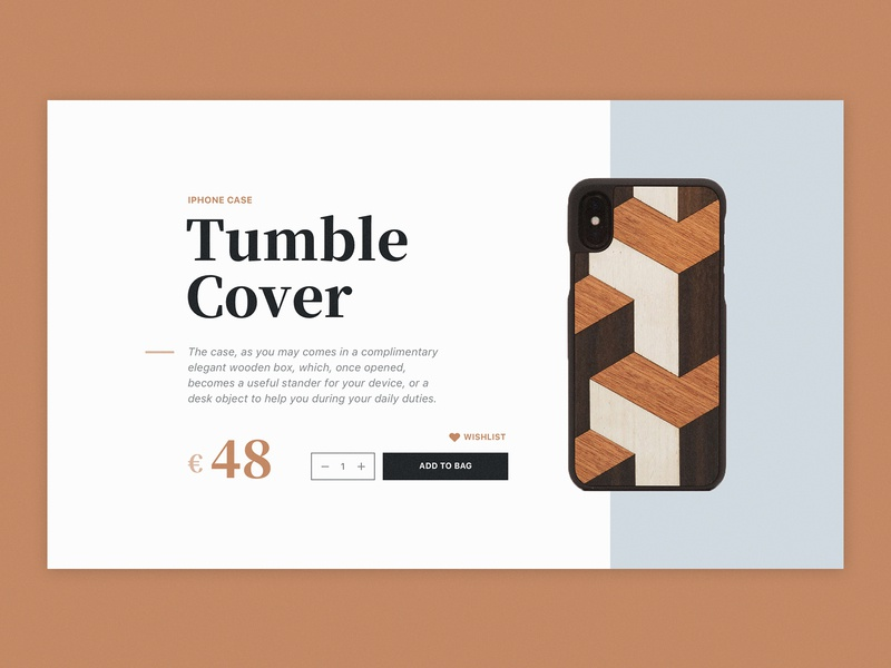 E-Commerce Product Page typography simple brown blue case iphone product shop e-commerce website app dailyui challenge dailyui