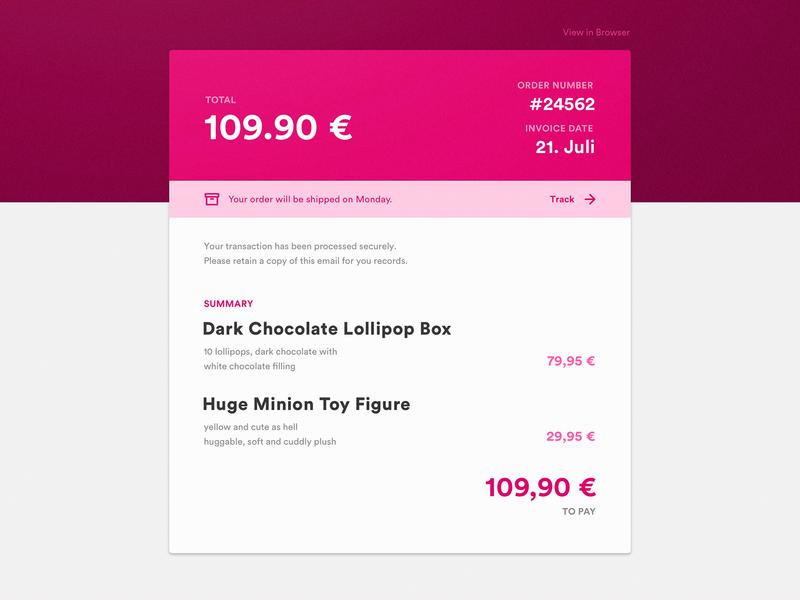 Email Receipt invoice redirect purple ui ux receipt email app dailyui challenge dailyui