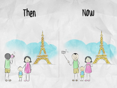 Photography - Then and Now selfystick camera selfies tower eiffel