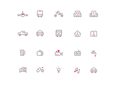 Line Icons April 2017 bunk-bed hostel-icon hostel drugs flight car-icon hospital-icon tv icon-pack line-icon