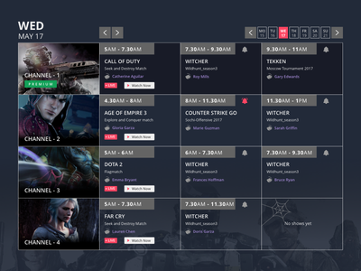 Schedule Page online-gaming e-sports live-stream game schedlue