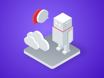 Isometric Series - 3 sketch red and grey red duotone empty simple camera illustration isometric-style isometric artificial-intelligence ai chat conversation cloud robot machine-learning