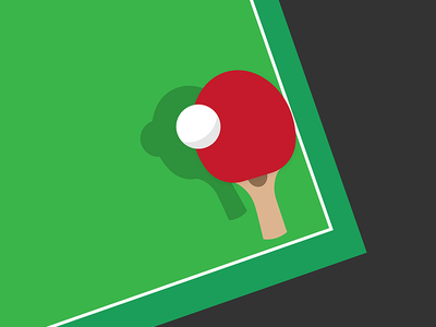 Ping Pong green red ball paddle table tennis pingpong illustration illustrator illustration-a-day