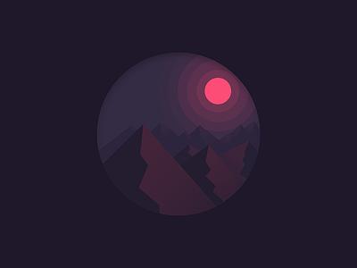 Mountains landscape pink purple red dark night hills mountains illustration illustrator illustration-a-day