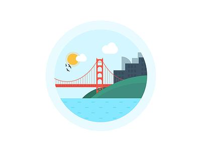 Golden Gate Bridge landscape san francisco city light sky bridge illustration illustrator illustration-a-day