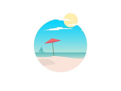 Beach sea warm sunny calm gradient beach illustration illustrator illustration-a-day