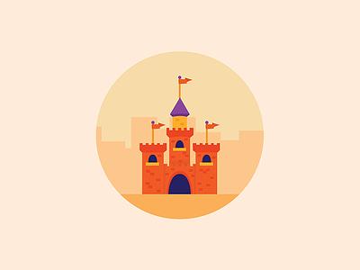 Castle icon minimal orange warm cartoon fantasty castle illustration illustrator illustration-a-day