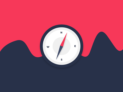 Compass simple icon minimal direction compass illustration illustrator illustration-a-day