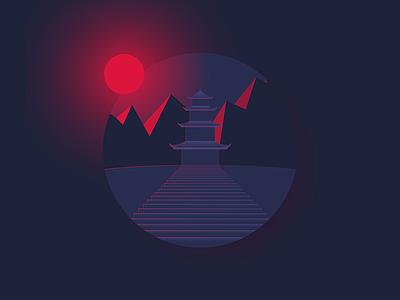Pagoda mountains stairs dark night red japanese pagoda illustration illustrator illustration-a-day