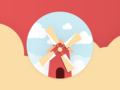 Windmill farm barn summer warm simple minimal windmill illustration illustrator illustration-a-day