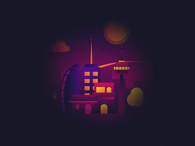 Gradient City bright planet alien space future gradient city illustration illustrator illustration-a-day