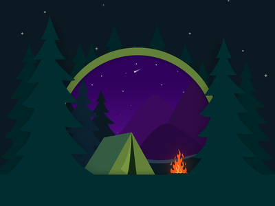 Camping night mountains forest tent campfire camping design green dark simple illustrator illustration-a-day illustration
