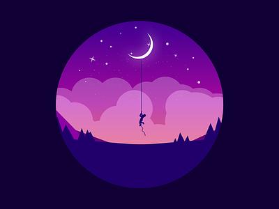 Rêver stars sky clouds moon kid boy dreamer dream night blue design dark simple minimal illustrator illustration-a-day illustration