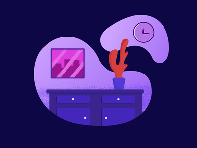 Workspace clock plant work desk home workpace work purple gradient design red night blue icon dark simple illustrator illustration-a-day illustration