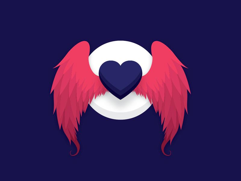 Heart flat devils cold wings devil heart red design blue dark simple illustrator illustration-a-day illustration