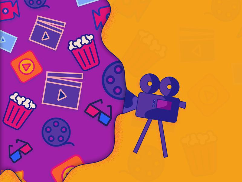 Movie illustration illustration-a-day illustrator minimal simple dark design orange vector yellow purple violet movie cinema premiere icon doodle modern art poster