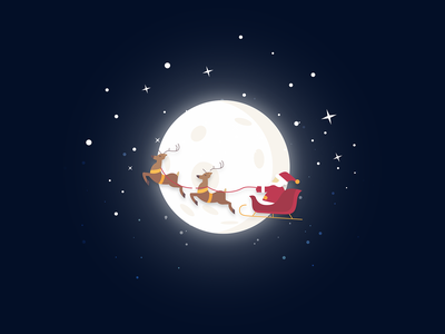 Santa reindeer sleigh 2018 stars christmas santa vector moon glow night design blue dark simple minimal illustrator illustration-a-day illustration