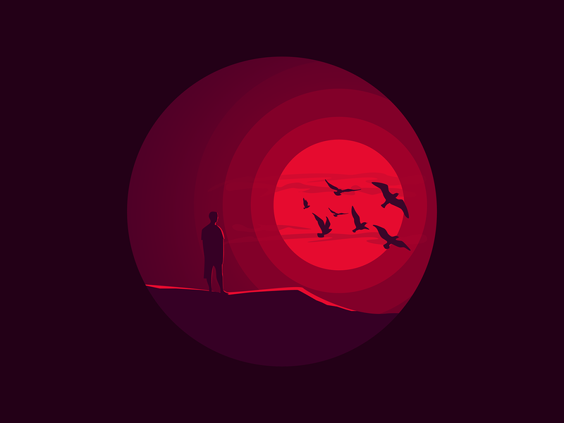Adios 2018 vector new year eve 2018 memories nostalgia year end sunset red design dark simple minimal illustrator illustration-a-day illustration