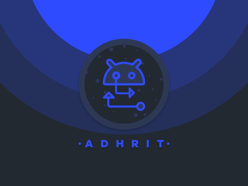 Adhrit blue android app android branding vector logo icon design dark minimal illustrator illustration