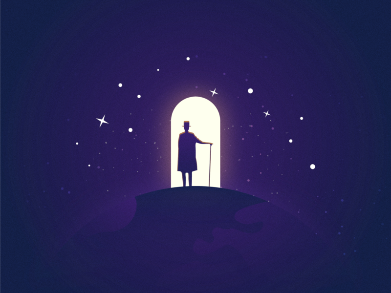Descry sightseeing intergalatic traveller magician sky violet magic galaxy outer space space travel vector night blue design dark simple illustration-a-day illustrator illustration