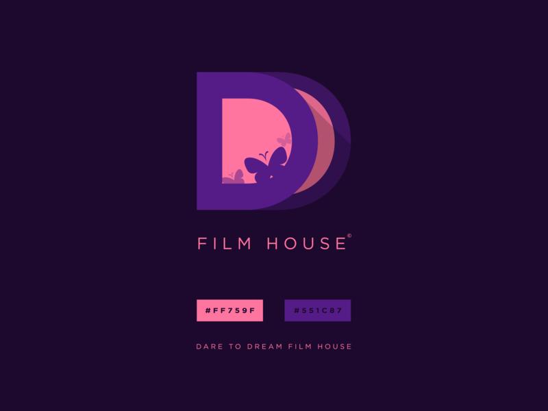 Dare to Dream Film House film dreamy dream violet pink purple simple design branding vector logo illustration