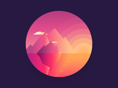 Fin - Illustrate A Day the end end fin finale last sun mountains sunset sunrise gradients bright orange vector red design minimal illustration-a-day illustrator illustration